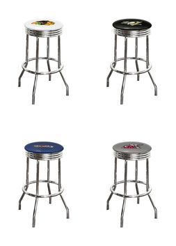 "BAR STOOL NHL NCAA SPORTS LOGO DECAL 24"" OR 29"" TALL CHROME"