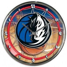Dallas Mavericks Chrome Round Wall Clock  NBA Sign Banner Of
