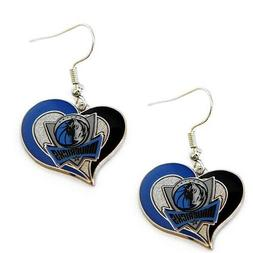 Dallas Mavericks NBA Silver Swirl Heart Dangle Earrings Hypo