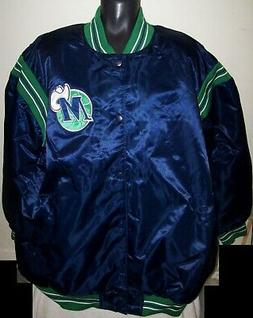DALLAS MAVERICKS NBA STARTER Satin Snap Down Jacket BLUE 6X