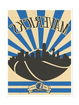 Dallas Mavericks Poster Sunset Design Art Print Man Cave Dec