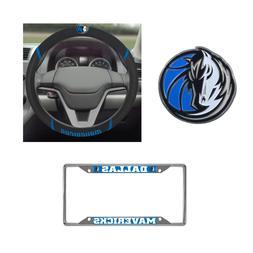 Dallas Mavericks Steering Wheel Cover, License Plate Frame,