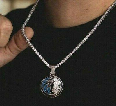 "Mens 8 Dallas Mavericks Round 18"" Necklace White"