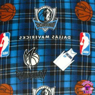 nba dallas mavericks plaid fleece fabric