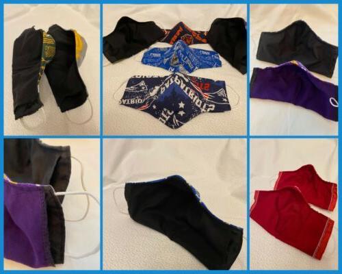 NFL Mask, NBA MLB Mask, College 3-layered Fabric Mask, Filter Pocket
