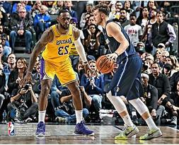 Luka Doncic Dallas Mavericks Unsigned Dribbling vs. LeBron J